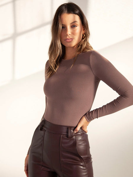 Long Sleeve Crew Neck Bodysuit Dark Brown