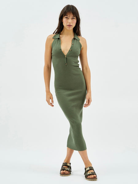 Calley Collared Rib Midi Dress