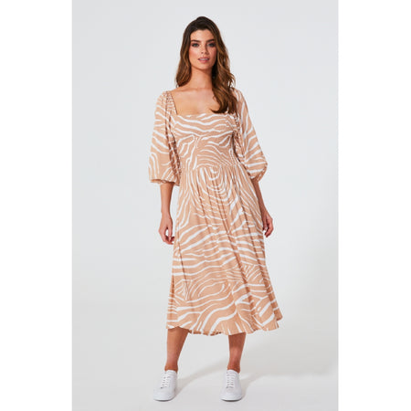 Devon Shirred Dress Zebra
