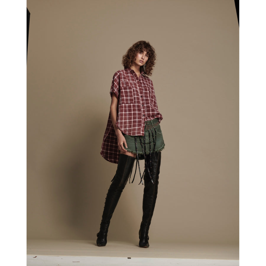 Oxblood Check Stoned Daria Cut Off Shirt