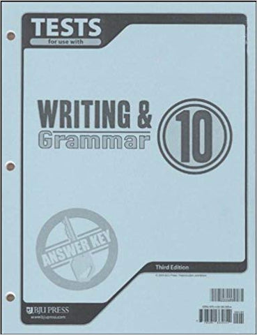 BJU Writing & Grammar 10 Tests Answer Key (3rd ed.) (PH) - Learning Plus PH