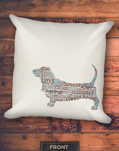 Basset Typographic Pillow