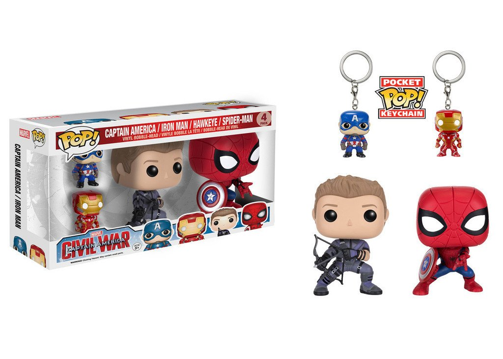 Marvel: Captain America 3 - Captain America, Iron Man, Hawkeye, Spider-Man 4-Pack Pop! Vinyl Figure - More Toys Malaysia