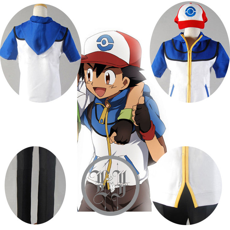 - Pokemon Ash Ketchum Trainer Costume Cosplay Jacket +pant+hat full set - Favorite Memorabilia