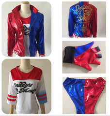 Suicide Squad Harley Quinn Cosplay Costume Full Set Including Jacket, Shirt, Shorts and glove!!