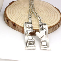 - Doctor Who Tardis Phone Booth Double Heart Couples Necklace - Favorite Memorabilia