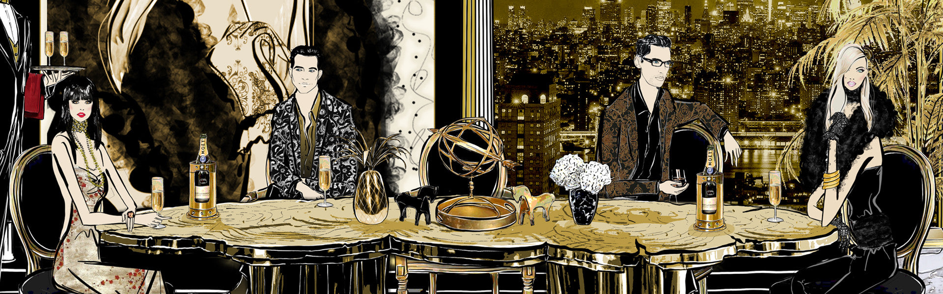 50 Shades Gold - Fashion Illustration