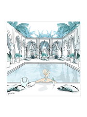 Moroccan Pool Time Blue - Illustration - Canvas Gallery Print - Unframed or Framed - Tiffany La Belle