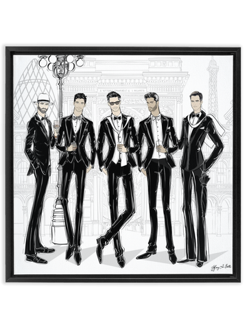Mens Fashion Week - Illustration - Canvas Gallery Print - Unframed or Framed - Tiffany La Belle