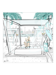 Beach Life Dubai - Illustration - Canvas Gallery Print - Unframed or Framed - Tiffany La Belle