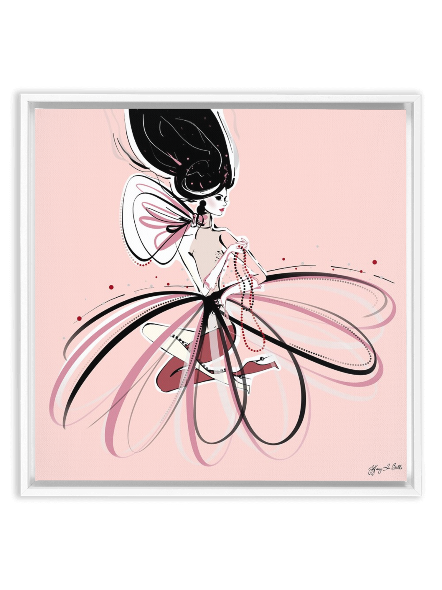 For the Love of Pearls in Pink - Illustration - Canvas Gallery Print - Unframed or Framed - Tiffany La Belle