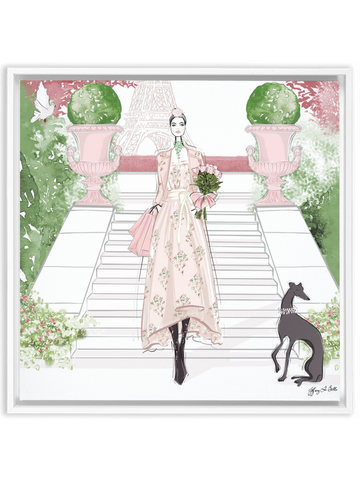 Parisienne Floral - Illustration - Canvas Gallery Print - Unframed or Framed - Tiffany La Belle
