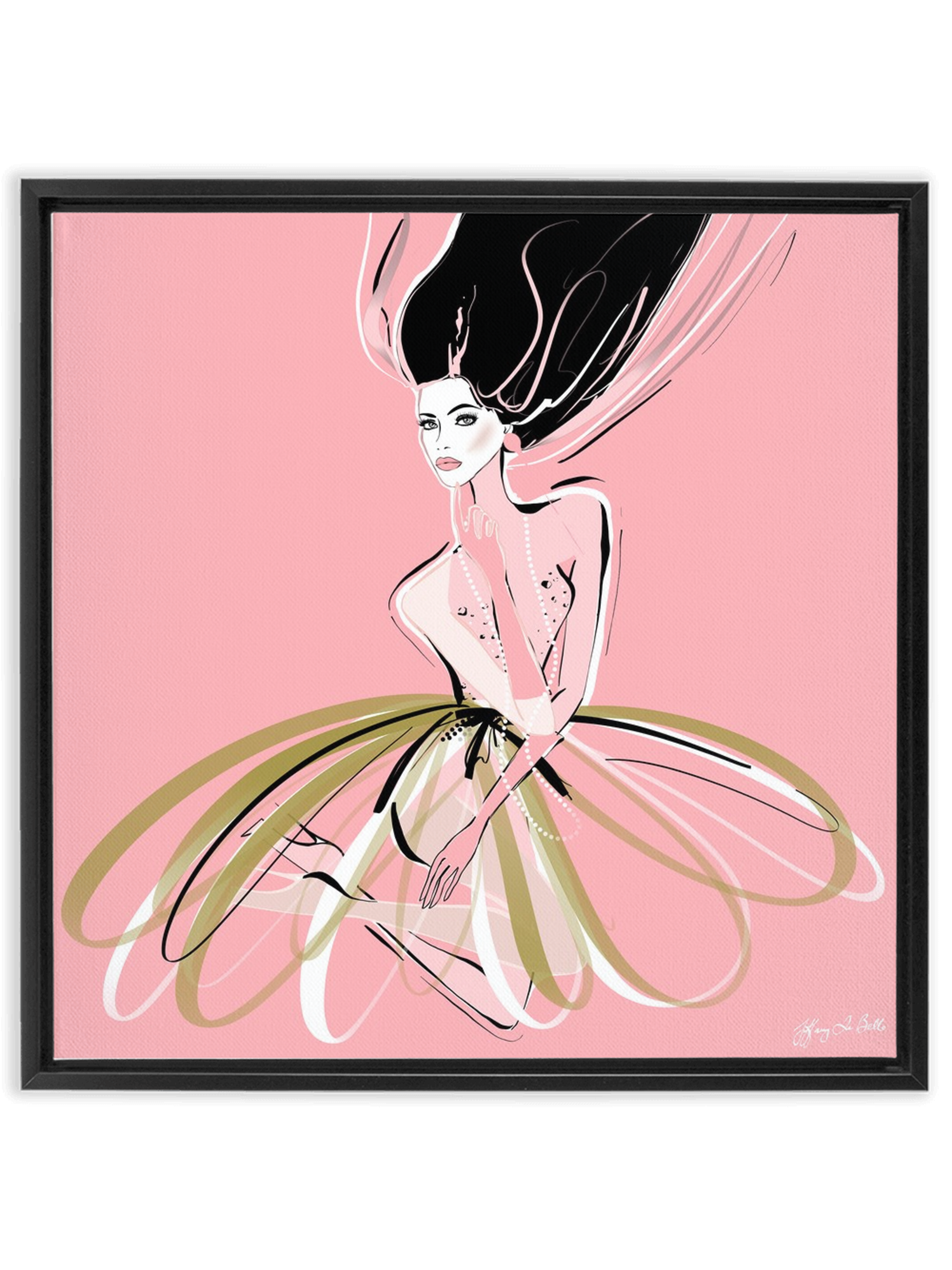 Pink and Pearls - Illustration - Canvas Gallery Print - Unframed or Framed - Tiffany La Belle