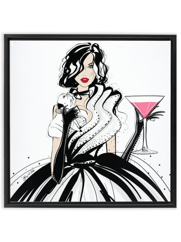 Pugs and Pink Drinks - Illustration - Canvas Gallery Print - Unframed or Framed - Tiffany La Belle