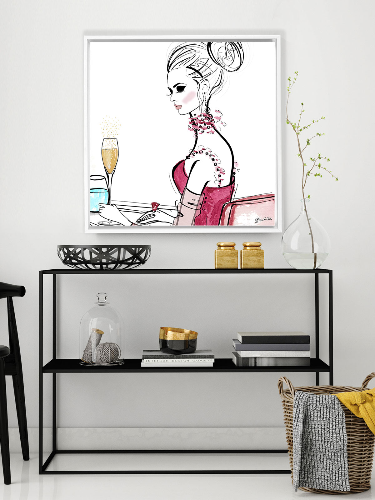 A Champagne Moment - Illustration - Canvas Gallery Print - Unframed or Framed