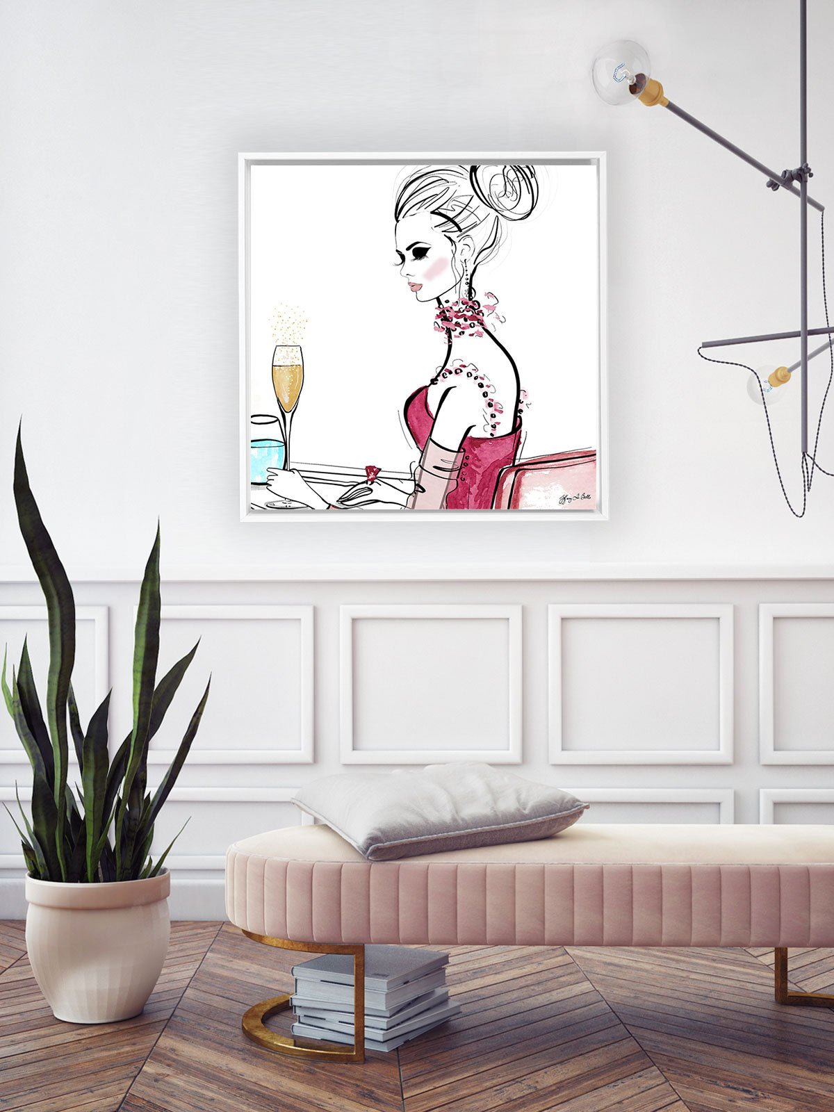 A Champagne Moment - Illustration - Canvas Gallery Print - Unframed or Framed - Tiffany La Belle