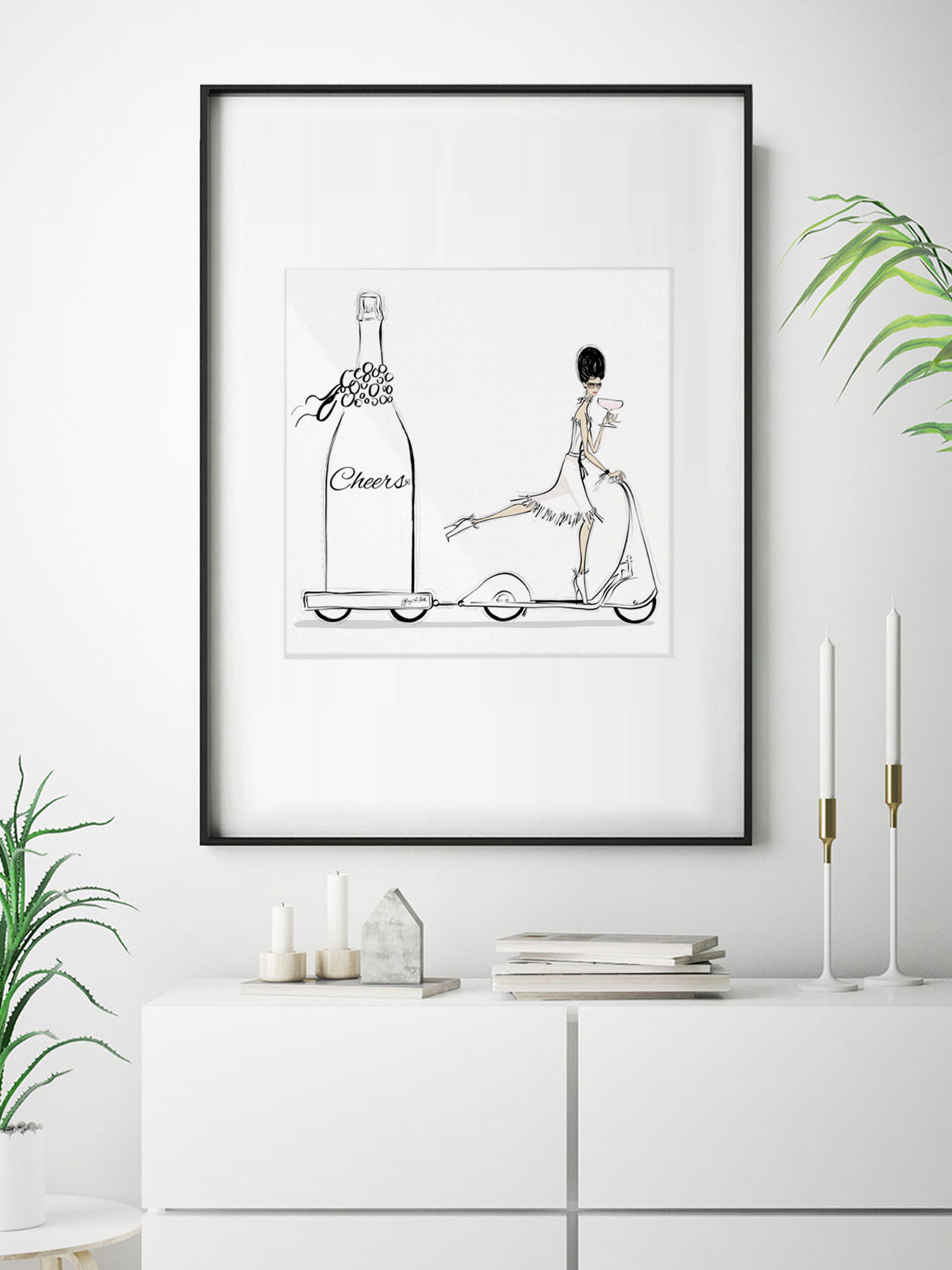 Cheers on Wheels - Illustration - Limited Edition Print - Tiffany La Belle