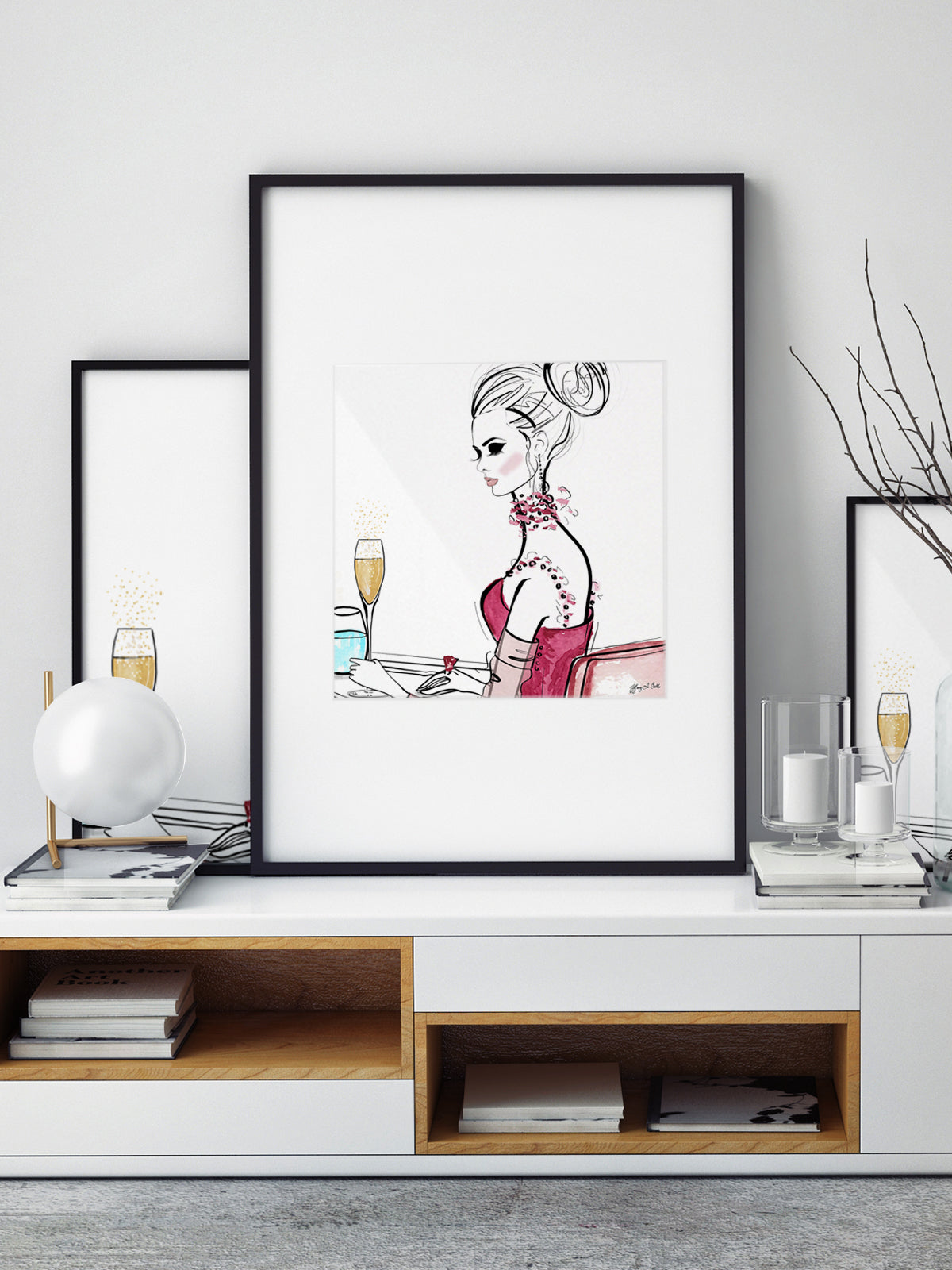 A Champagne Moment - Illustration - Limited Edition Print - Tiffany La Belle