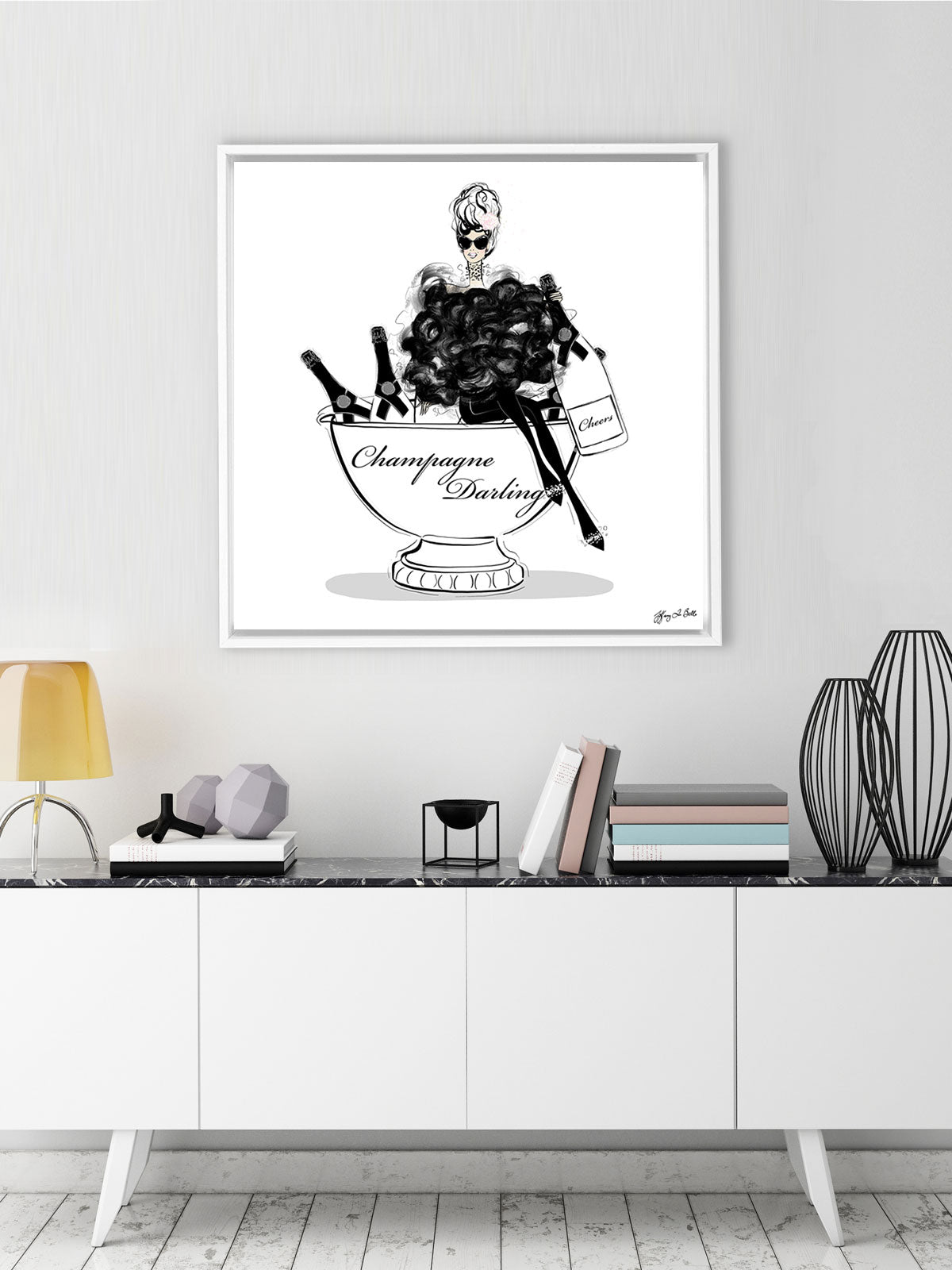 Champagne Darling - Illustration - Canvas Gallery Print - Unframed or Framed - Tiffany La Belle