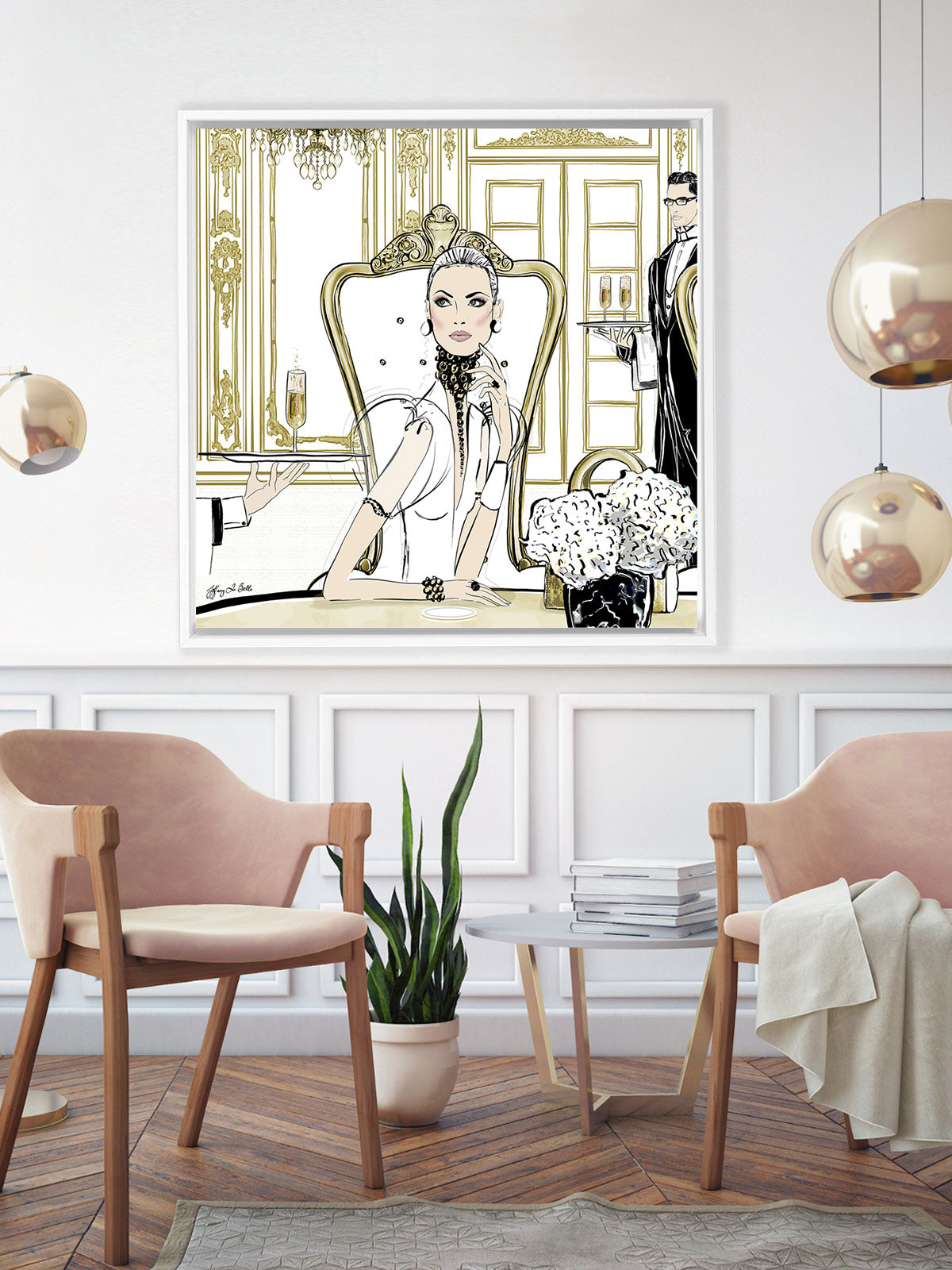 Champagne Dining - Illustration - Canvas Gallery Print - Unframed or Framed - Tiffany La Belle