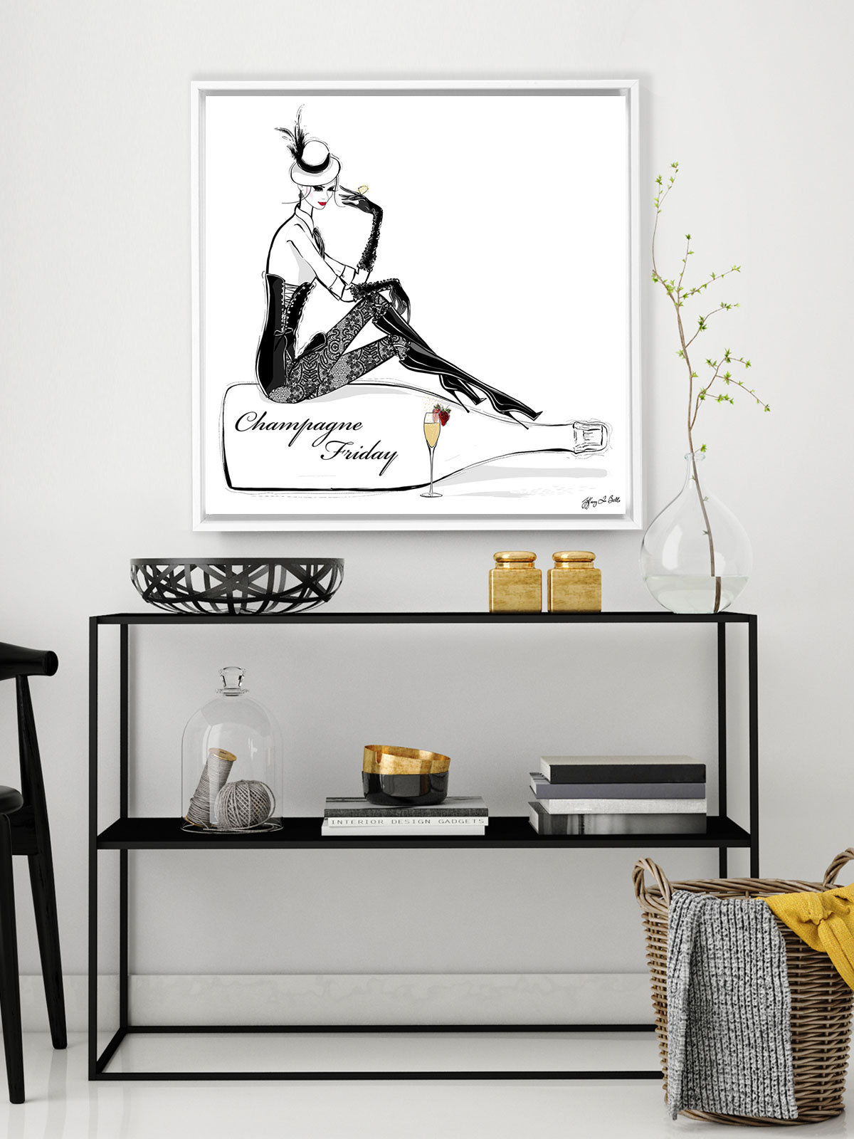 Champagne Friday with Strawberries - Illustration - Canvas Gallery Print - Unframed or Framed - Tiffany La Belle