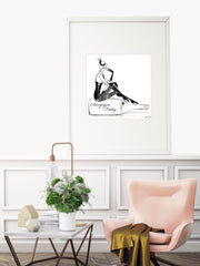 Champagne Friday with Strawberries - Illustration - Limited Edition Print - Tiffany La Belle