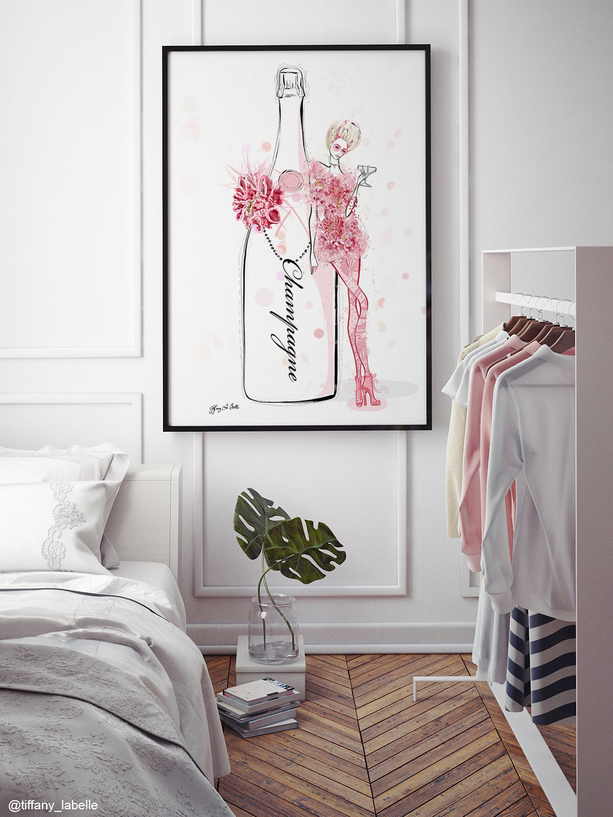 Champagne Bubbles in Elie Saab Floral - Illustration - Limited Edition Print - Tiffany La Belle