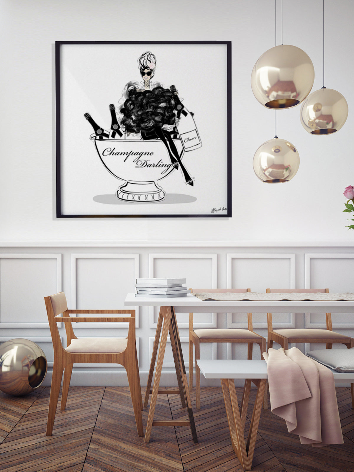 Champagne Darling - Illustration - Limited Edition Print - Tiffany La Belle