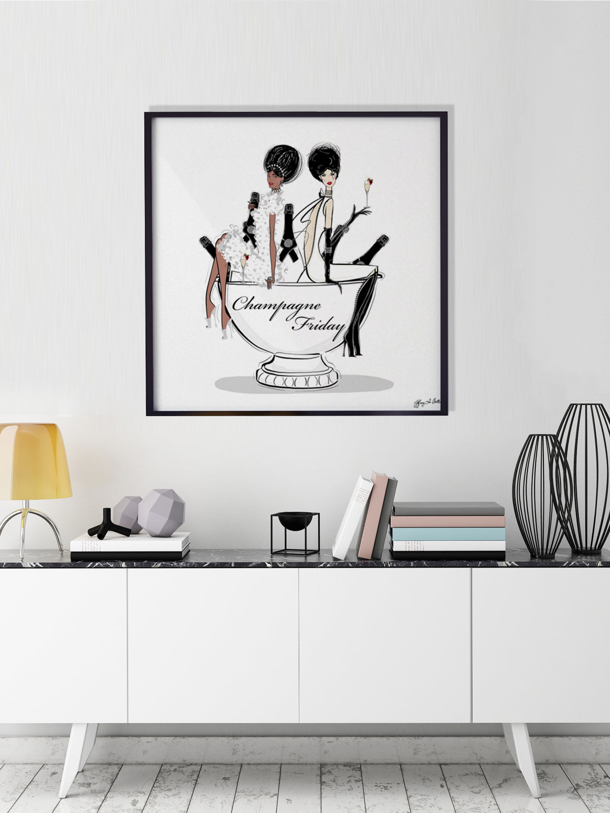 Champagne Friday - Illustration - Limited Edition Print - Tiffany La Belle
