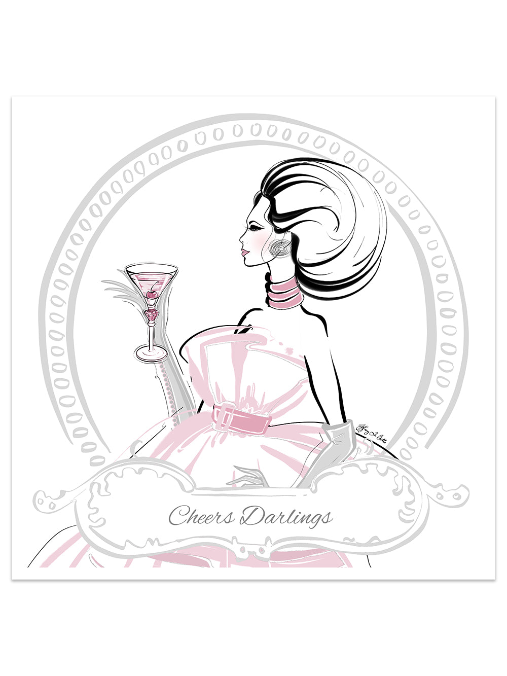 Cheers Darlings - Illustration - Limited Edition Print - Tiffany La Belle