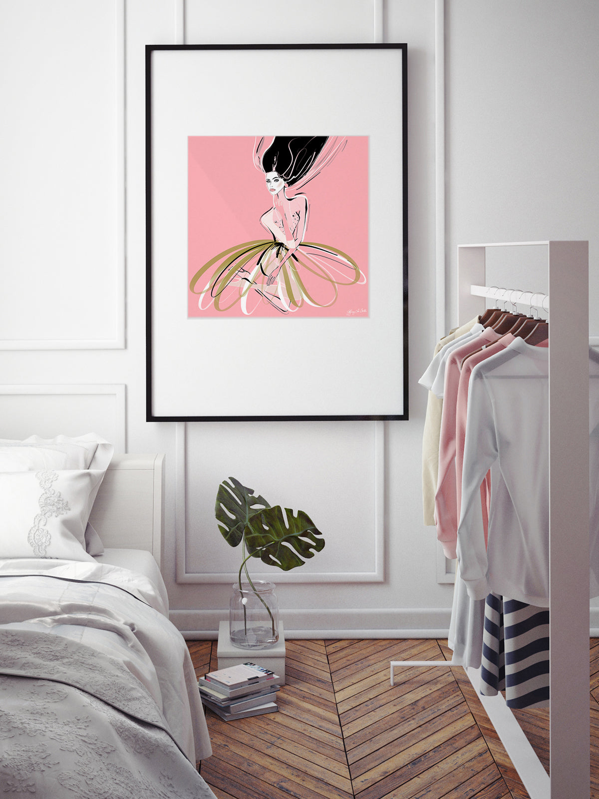 Pink and Pearls - Illustration - Limited Edition Print - Tiffany La Belle