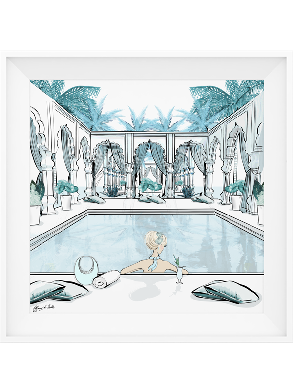 Moroccan Pool Time Blue - Illustration - Limited Edition Print - Tiffany La Belle