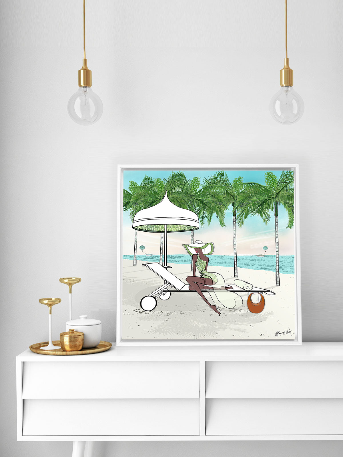 Palm Tree Beach - Illustration - Canvas Gallery Print - Unframed or Framed - Tiffany La Belle
