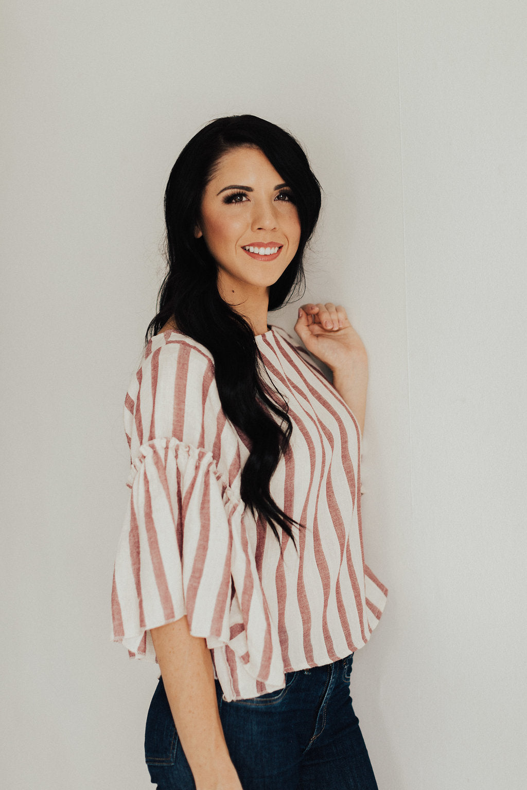 Rose Striped Bell Sleeve Top