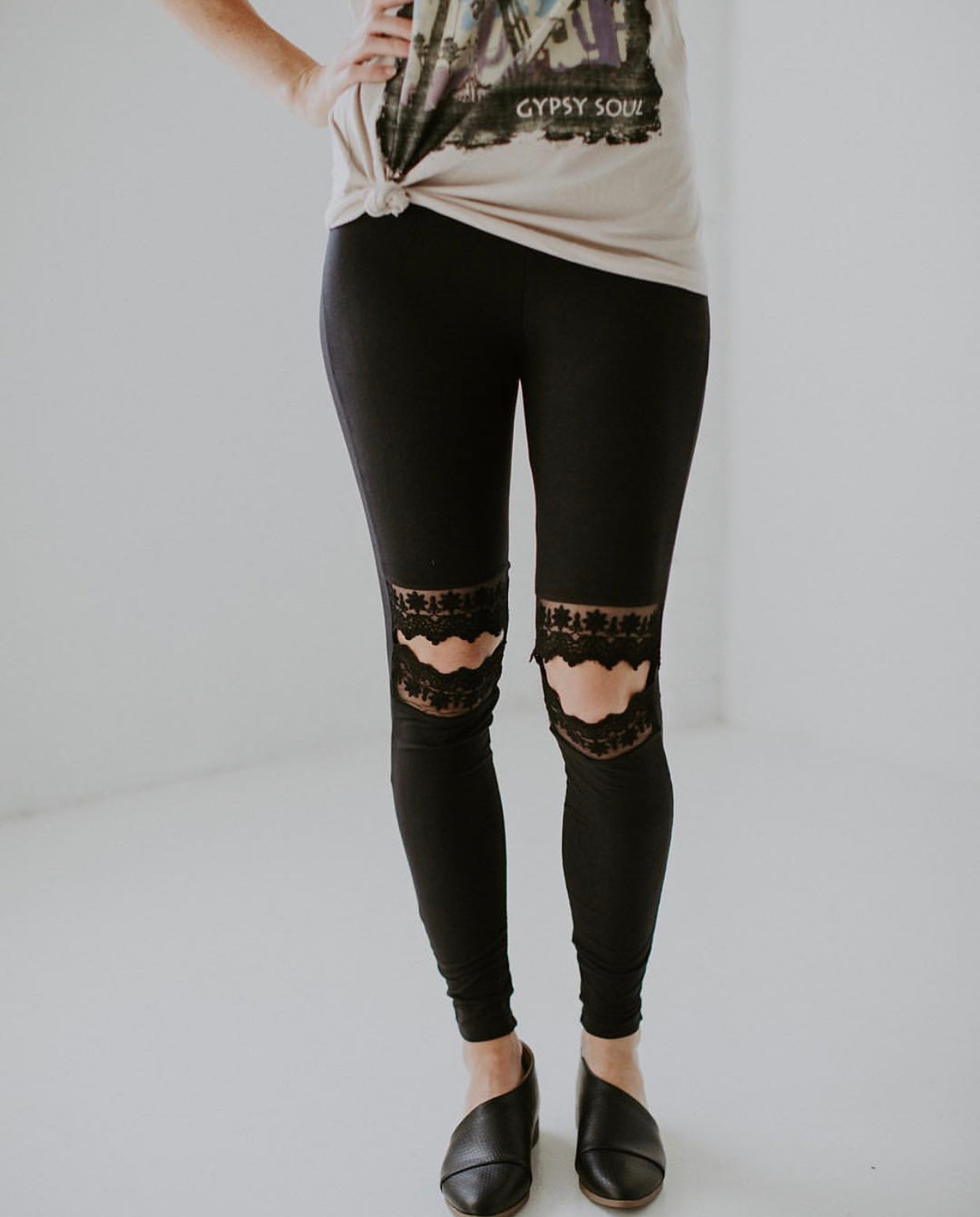 Lace Cut Out Soft Brush Leggings