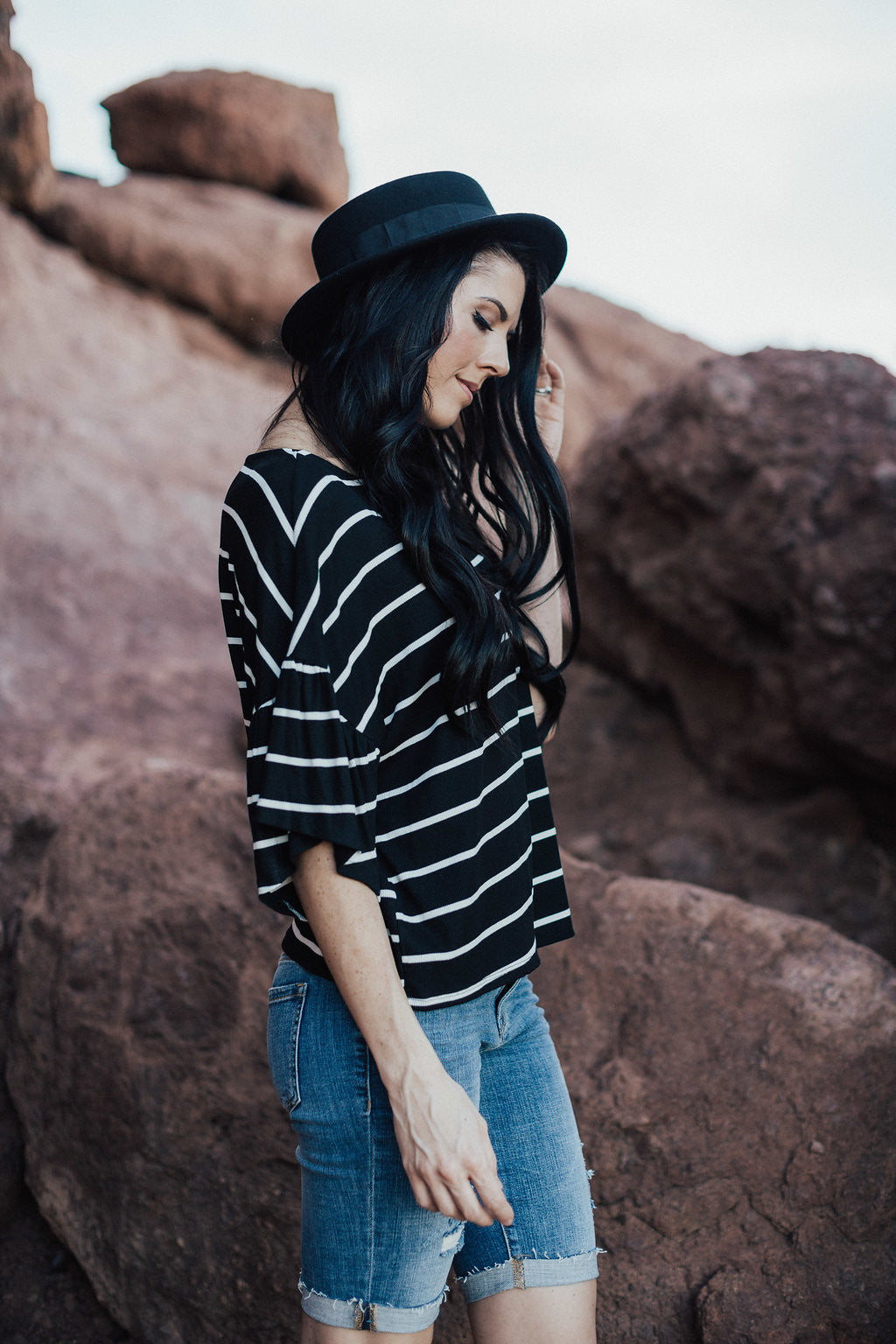 Striped Bell sleeve Crop