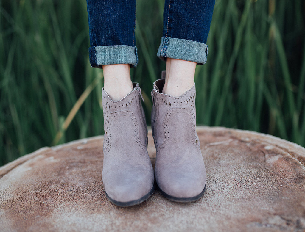Taupe sun burst side detail ankle booties