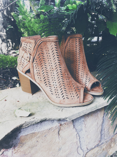 Perforated Ankle Bootie - Tan