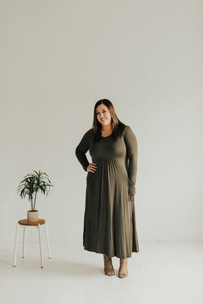Long Sleeve Maxi Dress with Pockets PLUS - Olive