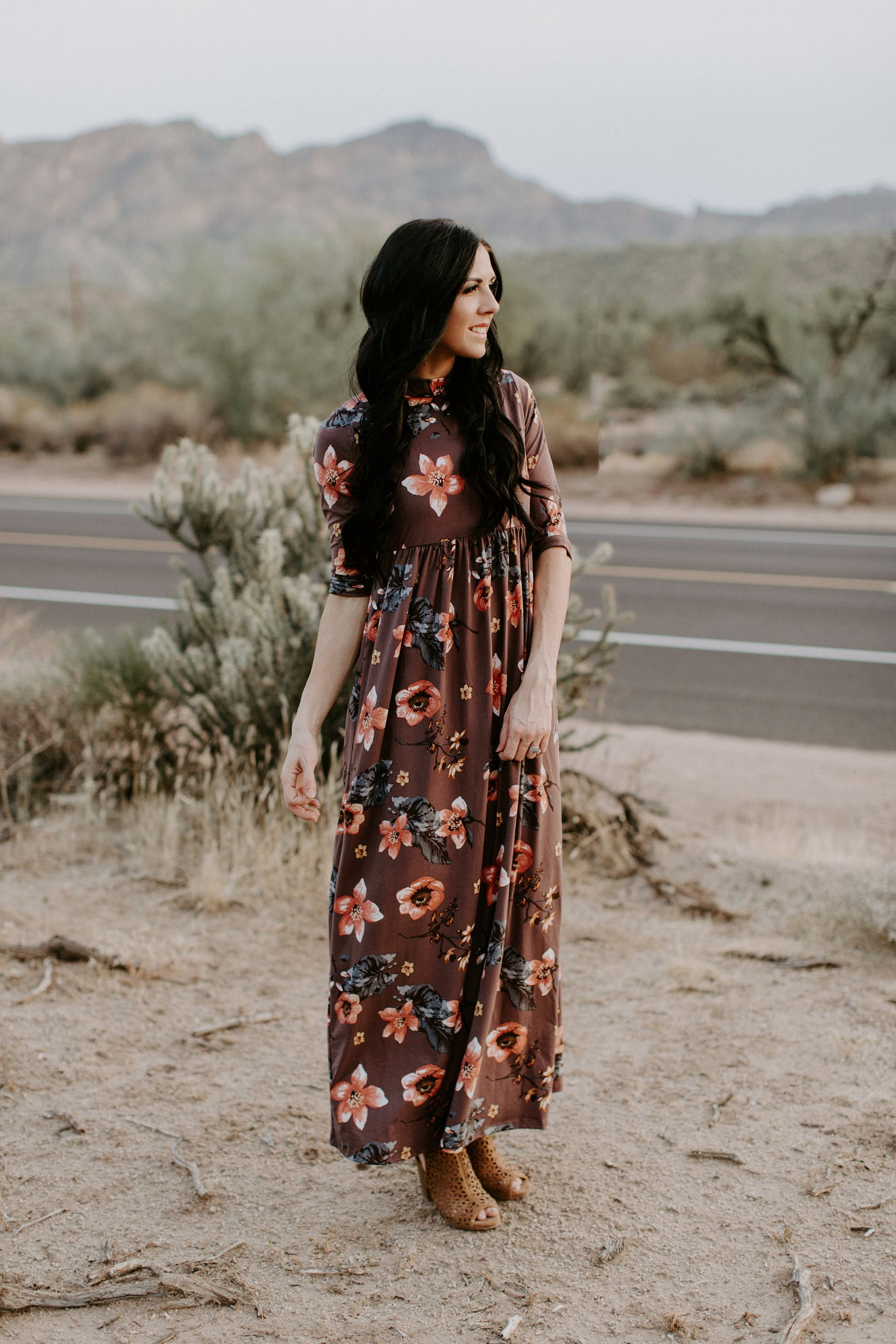 Floral Print Empire Maxi Dress with Pockets - Mauve