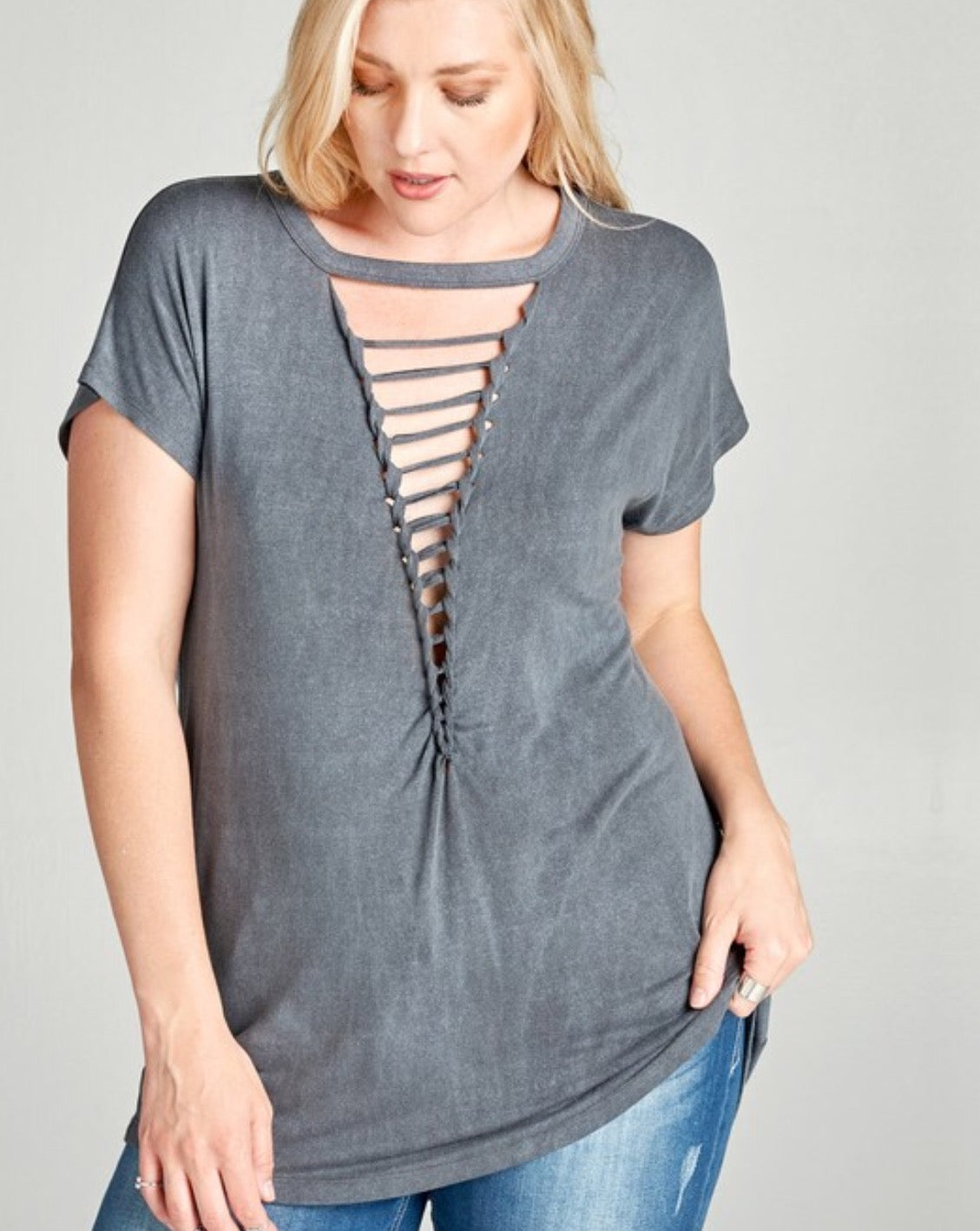 Washed Jersey Knit Top - Charcoal