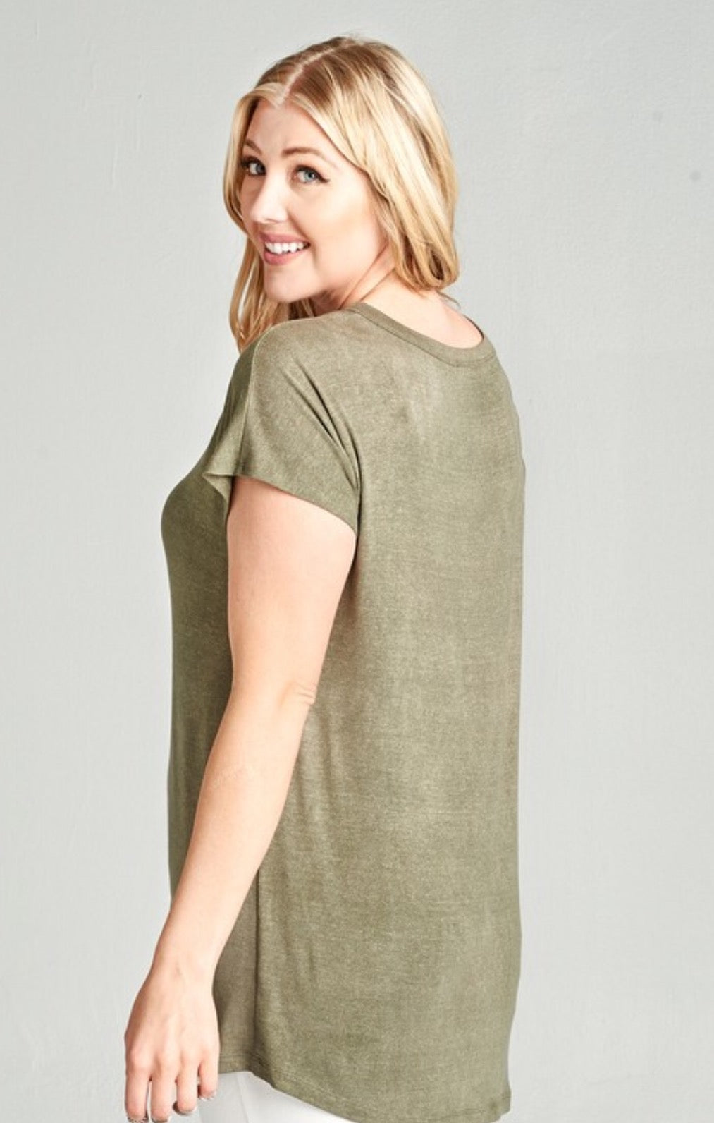 Washed Jersey Knit Cage Front Top - Olive