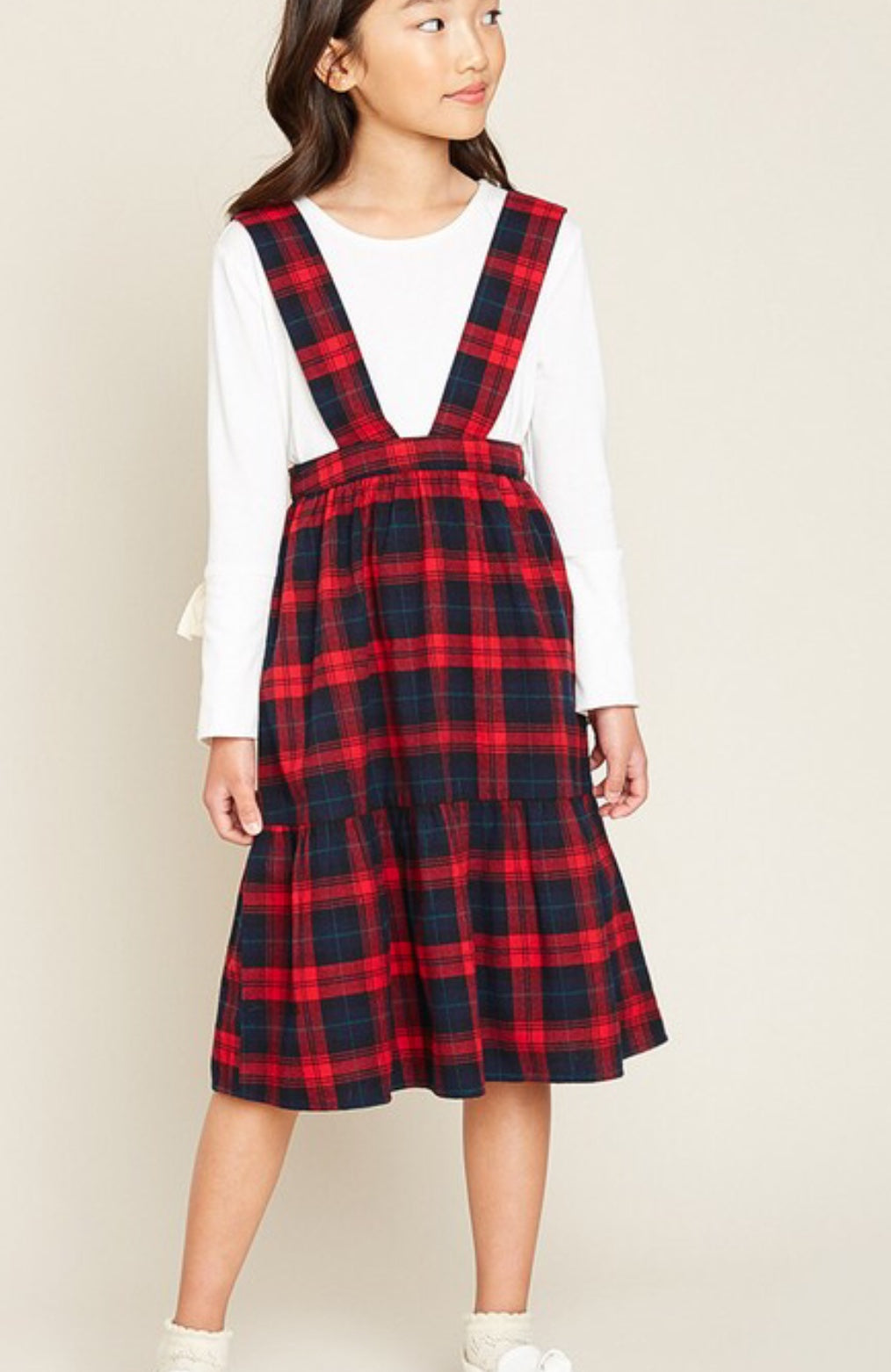 KIDS Tiered Suspender Skirt - Red Mix