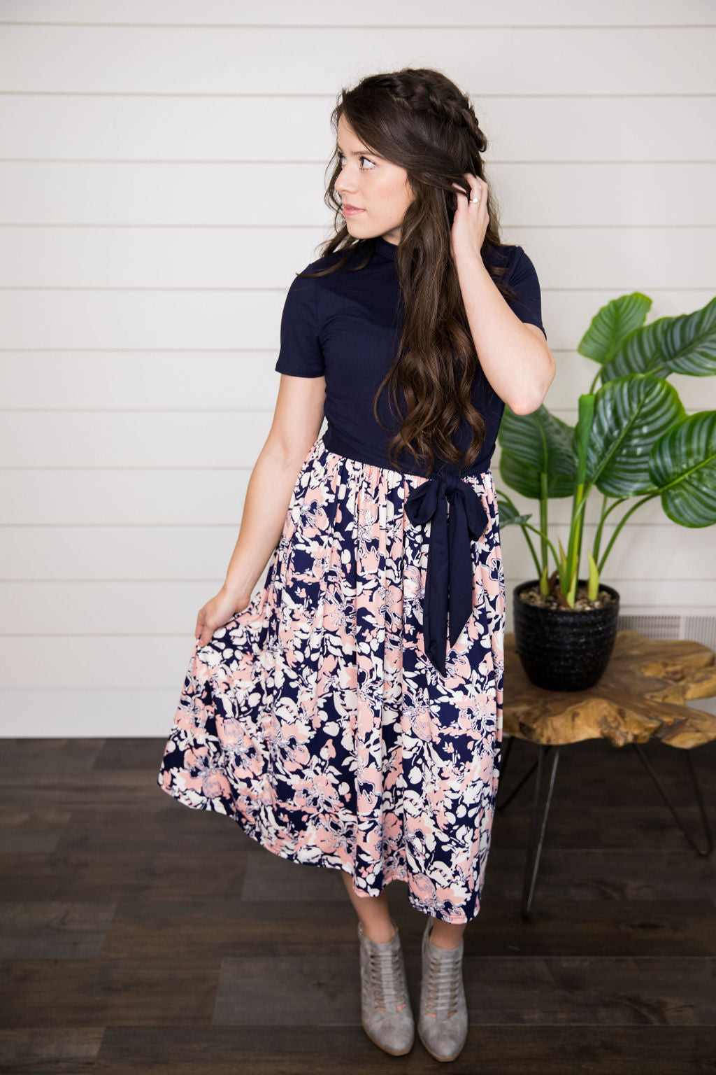 Abby Dress in Navy & Blush