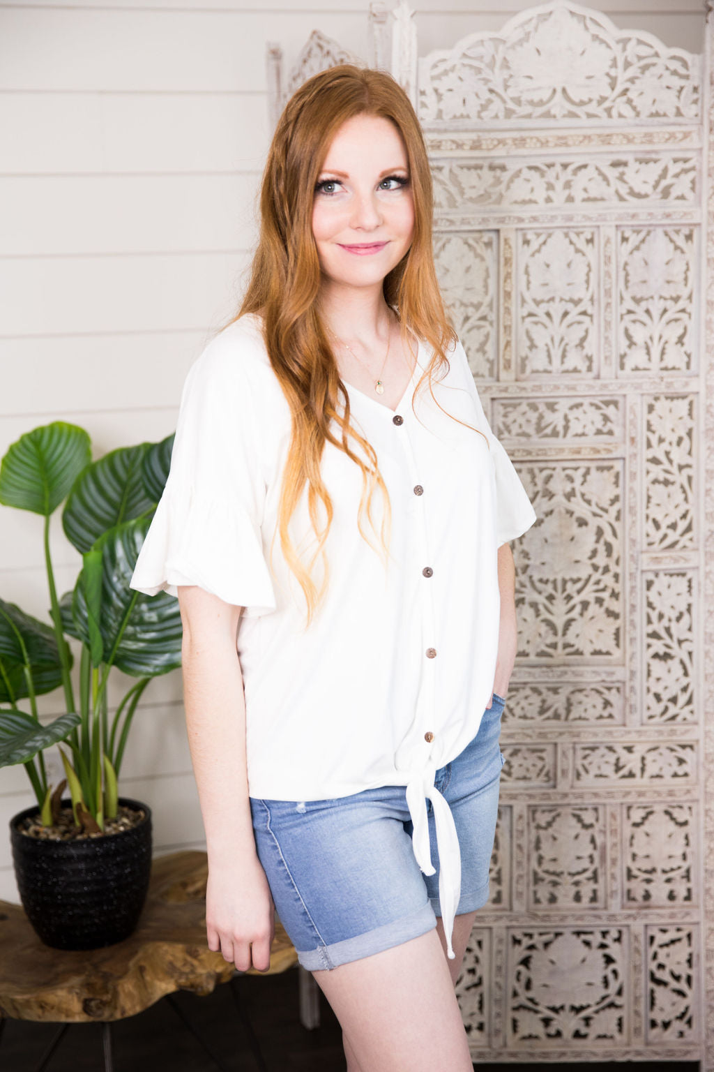Grace Button Up in Ivory