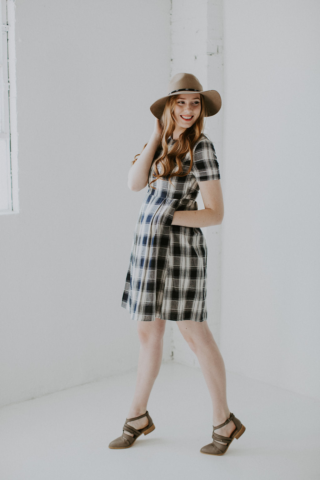 Pleated Plaid Dress with Pockets - Navy