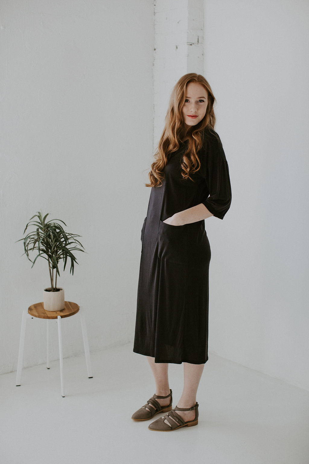 Modal Boxy Midi Dress with Front Pockets - Charcoal