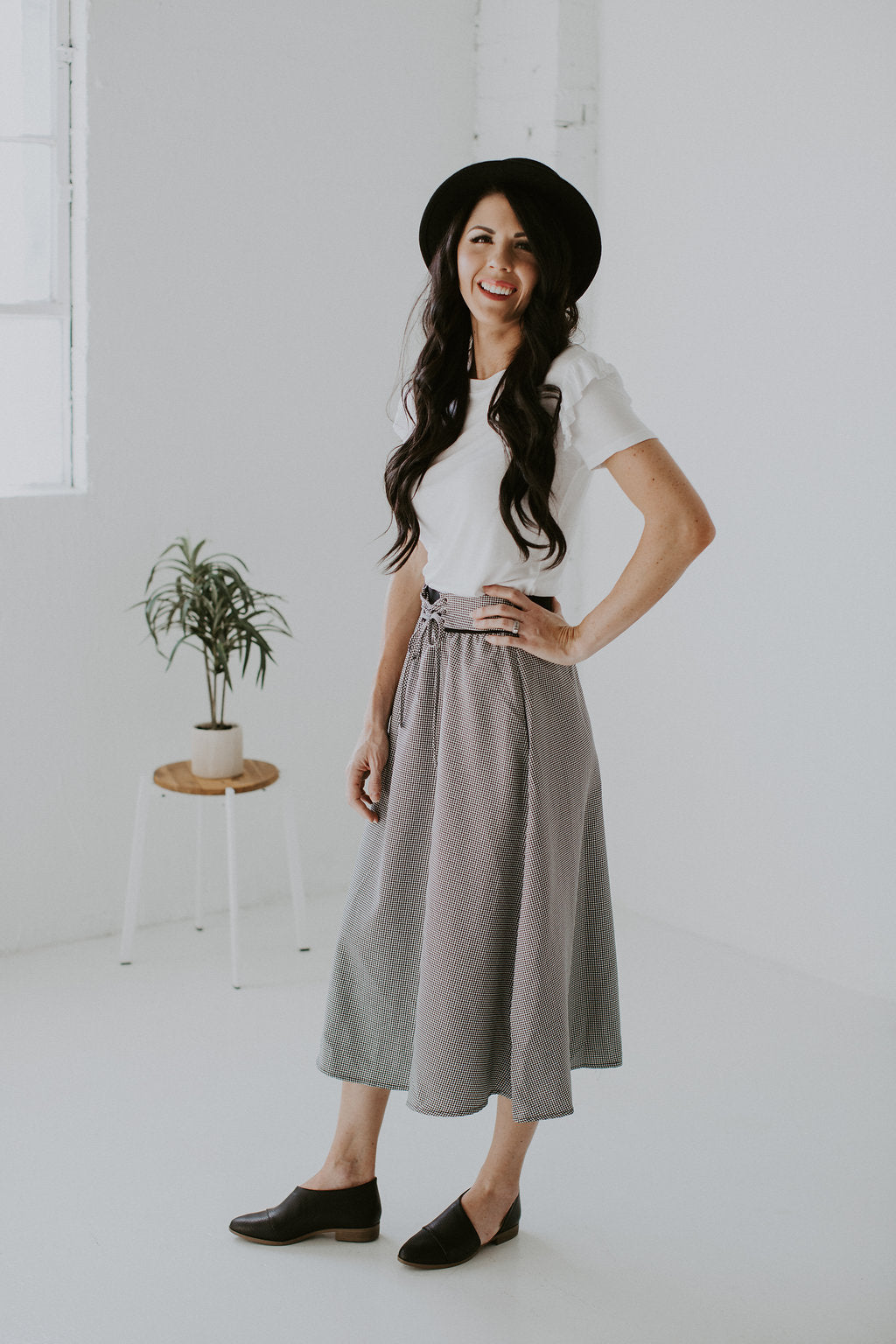 Checkered A Line Skirt with Tie Waist