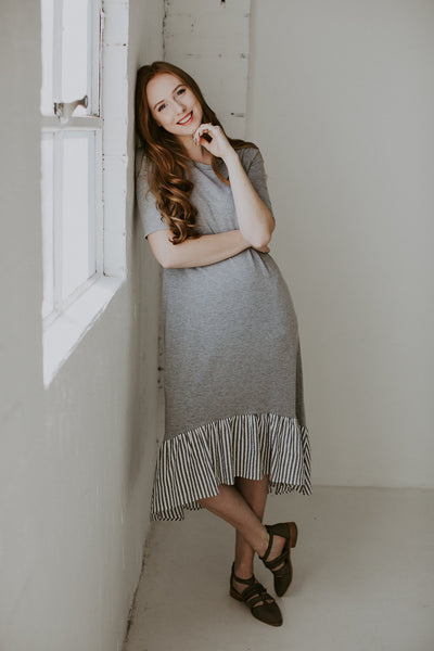 Bottom Ruffle Midi Dress - Heather Grey