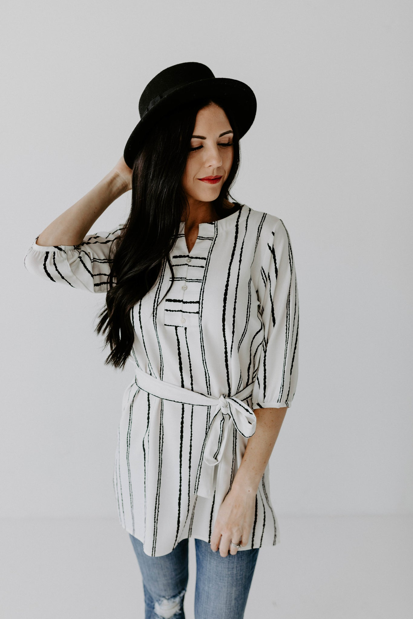 Tie Waist Tunic - White and Black Stripe